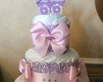 Girl diaper cake/Lavender and light Pink diaper cake/Carriage centerpiece/Baby shower centerpiece/Elegant baby shower centerpiece