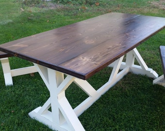 The Layla - Reclaimed Barn Wood Trestle Table and Benches, Farmhouse Table, Kitchen Table, Rustic Bench