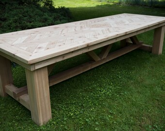The Samuel - Outdoor Cedar Herringbone Dining Table,  Chevron Table, Patio Table