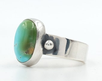 Turquoise Ring, Dyer Blue Turquoise, Natural Turquoise, Sterling Silver Ring, Turquoise Jewelry, Hand Made Silver Ring, Southwestern