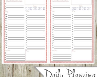 Daily Planning Page - Pink - Half Size - Instant Download