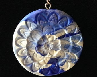 Blue Sage - Handmade Blue & White Pendant Necklace