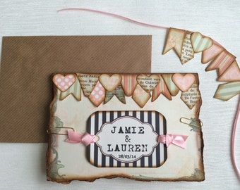 Booking deposit for Vintage bunting wedding invitations, Day/Evening Handmade to order