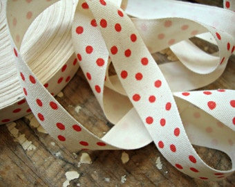 Cotton Ribbon with Red Polka Dots