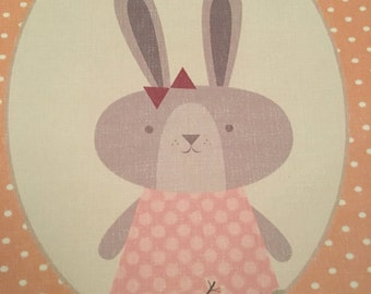Gorgeous animal print - rabbit - bunny with flowers - orange- perfect for baby or child's bedroom