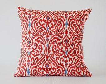 Red pillow.red decorative pillow.Ikat pillow.red Ikat pillow cover.pillow cover.throw pillows.cushion.decorative pillows