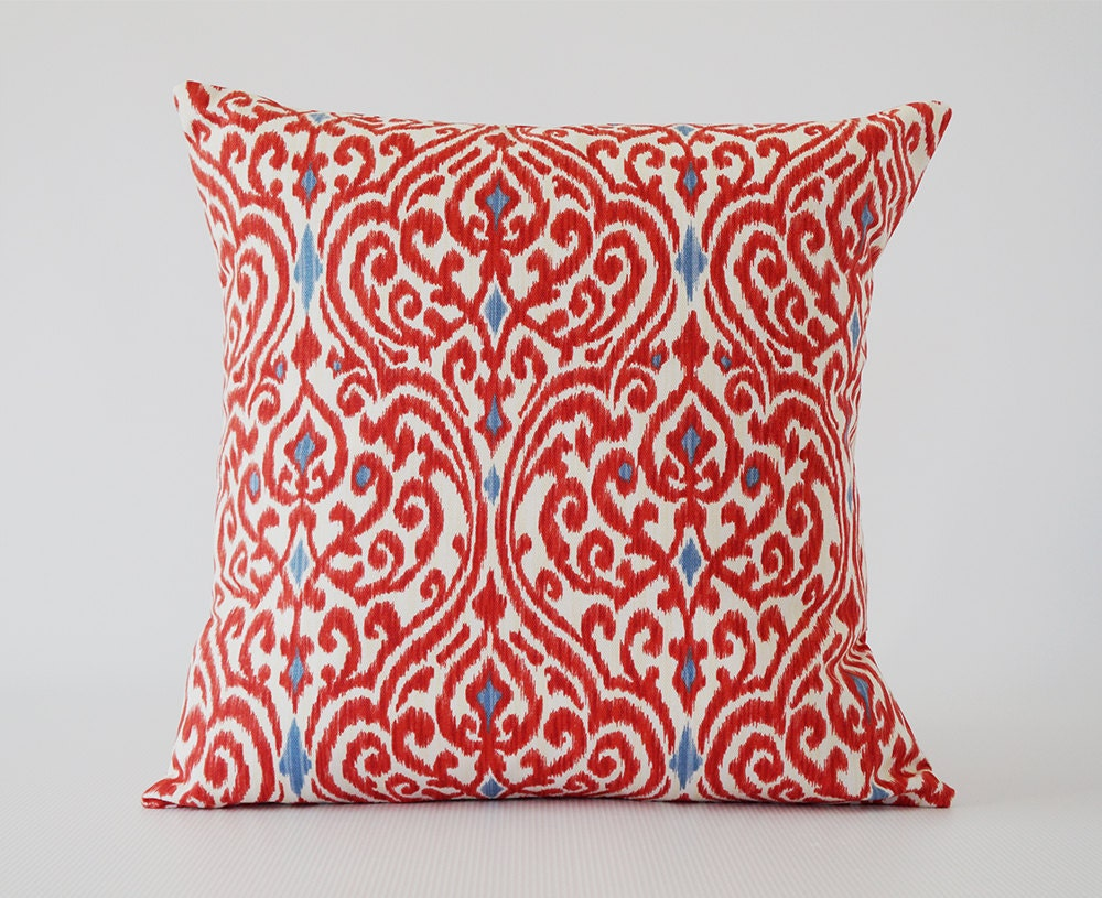 Decorative Pillows For Couch Etsy : Red pillow.red decorative pillow.Ikat by OliviasSmileDecor on Etsy