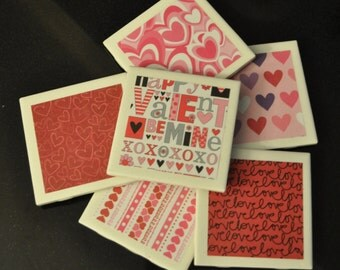 Valentines Day Coasters - Tile Coasters - Coasters - Holiday Coasters - Set of 6 Coasters - LOVE Coasters - Valentine's Day - Valentine
