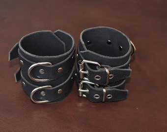 Handcrafted black leather double ankle cuffs BDSM heavy duty restraints