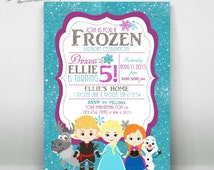 Frozen Birthday Invitation 1, All Characters, Customized, Digital File