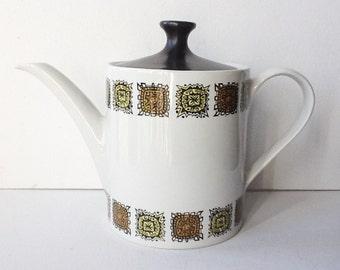 Mid Century Vintage Teapot, Myott Aztec Pattern Ironstone Ceramic Teapot, Retro teapot, Made in Staffordshire, England, 1960s / 1970s, 00947