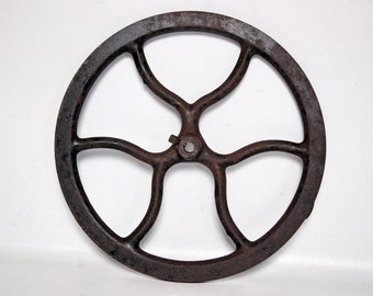 Antique Cast Iron Pulley Flywheel for Vintage Singer Sewing Machines 12 3/8""