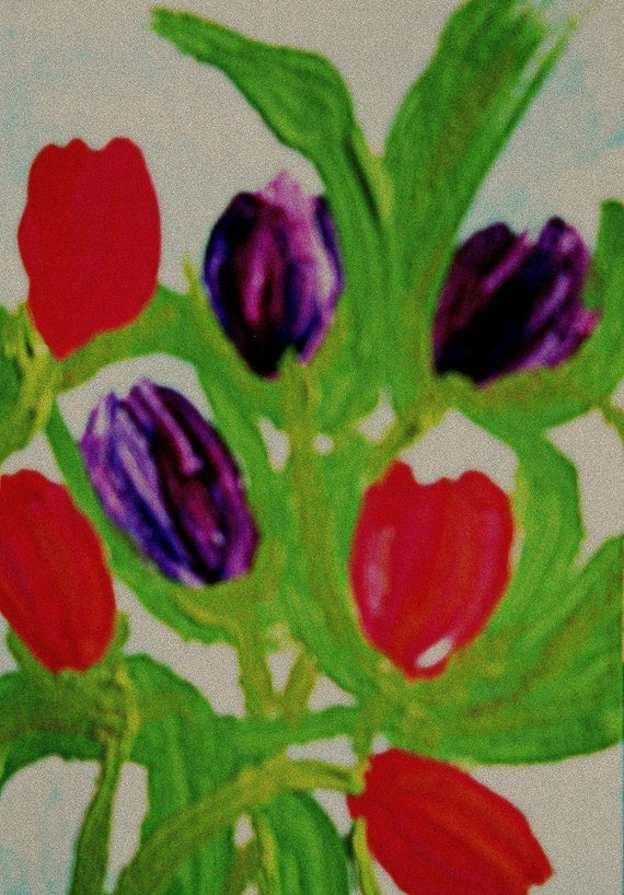 PERSIAN PEARL Original Acrylic painting, mounted on a blank note card - ready to frame. TULIPS, by Stacey Torres Artist