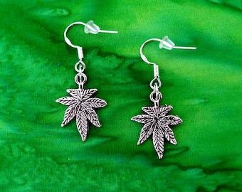 50% SALE Marijuana Earrings..Pot Leaf Earrings..Weed Earrings.Cannabis Earrings.Pot Leaf Jewelry.Stoner Gifts 925 Silver Wires FREE SHIPPING