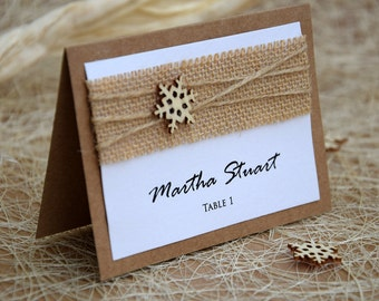 Winter Place Cards, Rustic Place Cards, Burlap Wedding, Winter Wedding, Snowflake Place Cards Name, Wood Place Card, Winter Wedding Card