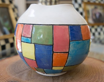 Handmade Color Blocked Jar