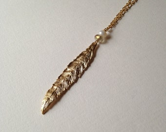 Willow leaf necklace | layering necklace | long necklace | leaf necklace