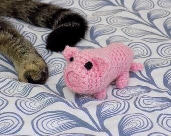 Cat toy. Little pink pig with cat grass. Handmade crochet amigurumi