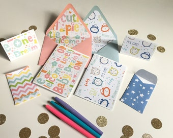 Baby card set / first year / birthday decor / party supply / baby boy / baby girl / gift card envelope / greeting card set / welcome baby