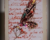 HANDMADE, GREETING CARD, Mom, Dad, Birthday, Anniversary, Wedding, Love, Thinking of You, Butterfly, Papillon, Copper, Script, Flowers