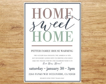 Printable Housewarming Invitation, Housewarming, Home Sweet Home Invite, Stock the Bar, New house, Modern Housewarming Party, We've moved