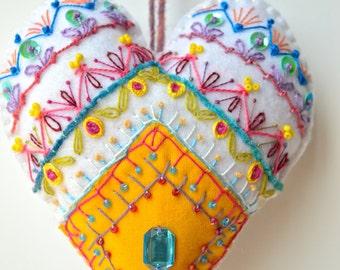 Bohemian heart, heart embroidered hanging, heart felt Christmas decoration