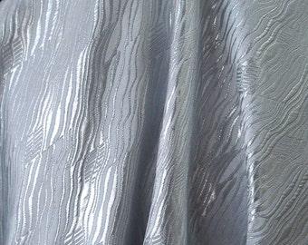 Silver white brocade fabric metallic thread Regency bridal wedding redingote made in France 140cm wide