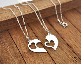 Sterling Silver 2 Heart Necklace,2 Heart Necklace, Heart Pendant, Heart Silver, Heart, love, necklace for sisters,  for friends, friendship