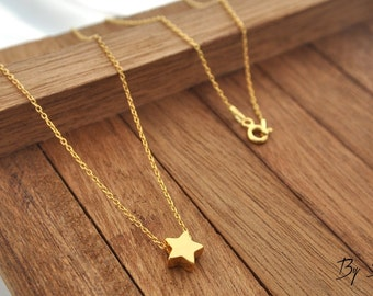 Sterling Silver Star Necklace gold plated, Star Charm Necklace, Tiny Star, Silver Star, Star Pedant, Little Star, Star, a star from the sky