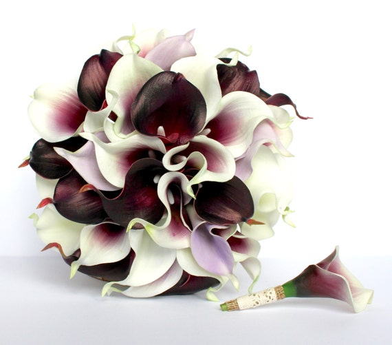 purple calla lily wedding bouquet items similar to purple calla wedding bouquet 6884