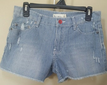 Jean destroyed shorts, Size 27 Upcylced/Altered (Waist 30 inch)  // Distressed Shorts // Size 27 Shorts //  Upcycled Shorts //