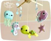 Baby mobile ocean Crib mobile Under sea Baby mobiles sea horse Nursery mobile Under sea friends Baby boy mobile sea nursery