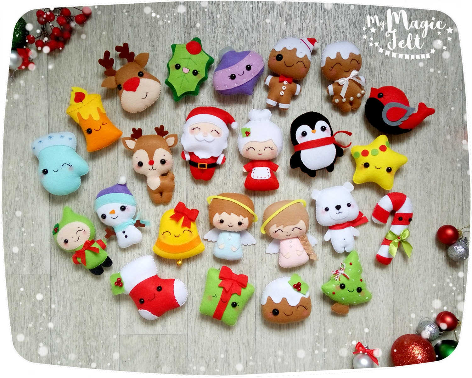 Christmas felt ornaments - Christmas Ornaments Felt Ornament Christmas Felt Decor Big Set Cute Christmas Favors Christmas Tree Ornaments Gift