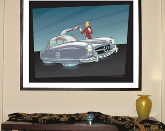 "Mercedes-Benz 300SL Hovercraft 24""w x 30""h Giclee"
