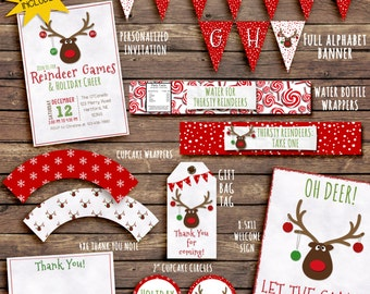 Reindeer games Party Invitation & Printable Decorations. Invitation included. Everything you need! Holiday