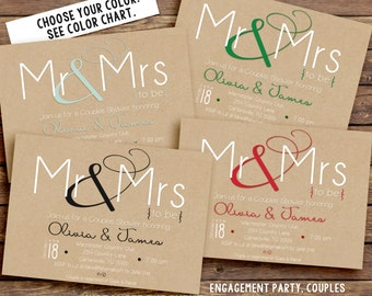 Printable Engagement Party Invitation Kraft