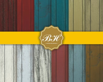 Wood Digital Paper, Wood Grain Pattern, Wood Texture Background, Wooden Background, Red Blue White Brown
