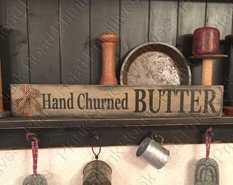 "STENCIL, Hand Churned Butter, 20""x3.5"", country stencils, primitive stencils, reusable stencils, kitchen stencils, mylar stencils NOT A SIGN"