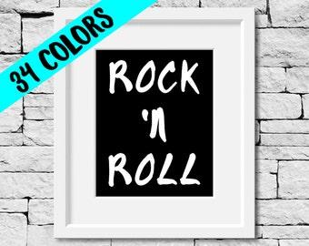 Rock N Roll Print, Music Print, Rock N Roll Quote, Rock and Roll Print, Musician Gift, Music Quote, Music Decor, Music Lover, Music Room