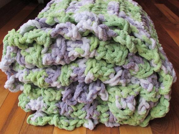Crochet Chenille Baby Blanket Pattern : Chenille Crocheted Baby Blanket Baby Girl by TwoTwoCreations