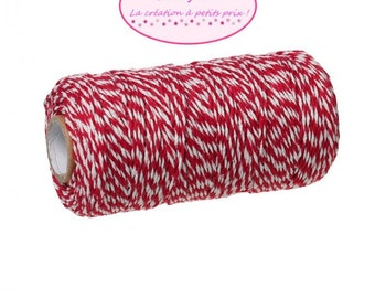 100 m spool string Style Baker's Twine red & white
