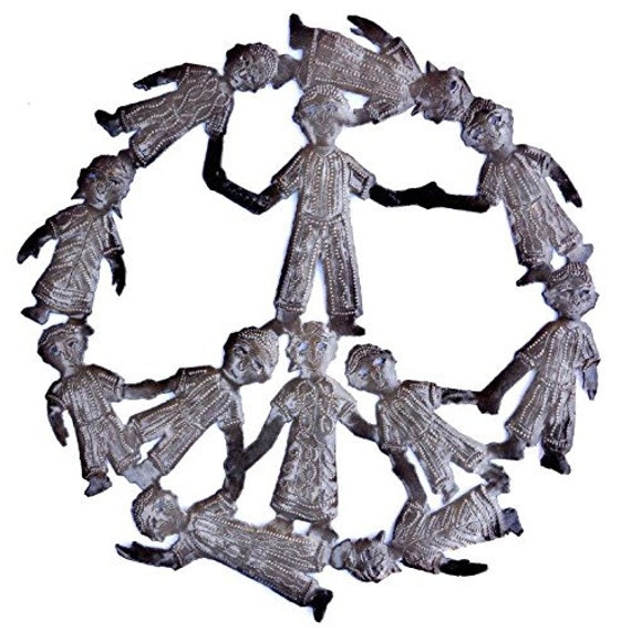 "Peaceful Children Peace Decor Sign Made in Haiti, Fair Trade, Recycled Metal, 13"" X 13"""