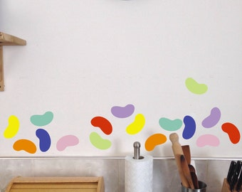 Jelly Beans, Fun Easter Decor, Peel and Stick, Wall Decals, Set of 20 stickers candy