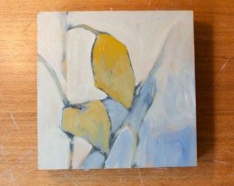 Blue Abstract Leaf Oil Painting