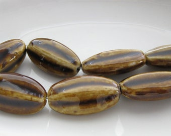 8 Fluted Brown Oval Porcelain Beads 27X15MM