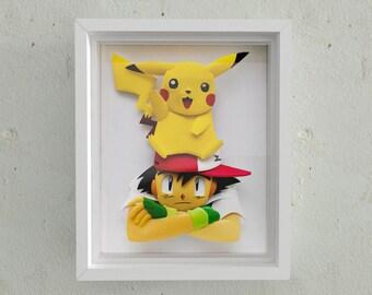 Ash's Pikachu 3D paper sculpture art in shadowbox frame