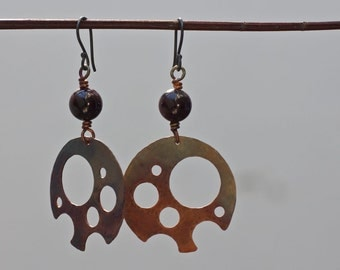 Steampunk jewelry Steam punk earrings Copper earrings Patina copper Natural stone earrings Mixed metal earrings Metalwork earrings Copper