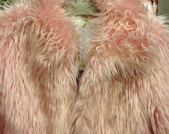 It's soooo fluffy! Candy pink shaggy Monster fur cropped bolero jacket