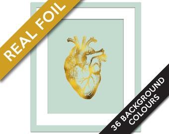 Human Heart Anatomical Gold Foil Art Print - Real Gold Foil - Anatomy Wall Art - Anatomical Wall Art - Valentine's Day - Medical Art