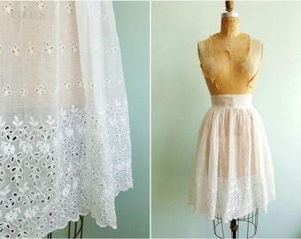 Vintage 1950s White Eyelet Skirt | Size Medium
